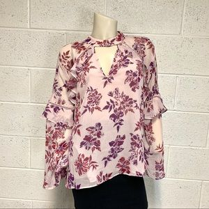 Express shirt long sleeve ruffle floral TB…